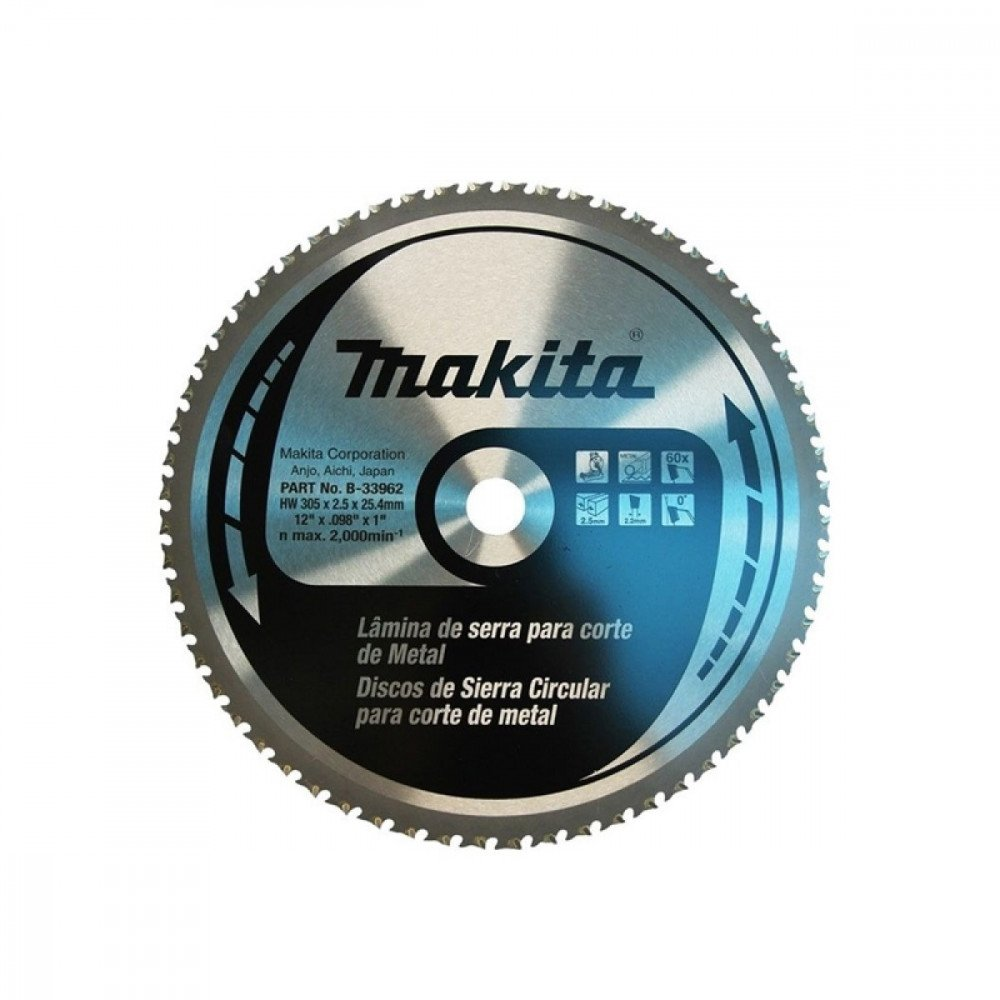 "DISCO SIERRA 12"" X 2,5 X 60 DIENTES EJE 25,4 mm CT P/LC1210-LC1230 - ACERO DULCE Makita B-33962"