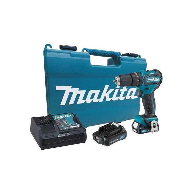 Taladro Atornillador Percutor Inalámbrico 12V 2.0Ah BL Motor (2 baterías + cagador) Makita HP332DWAE