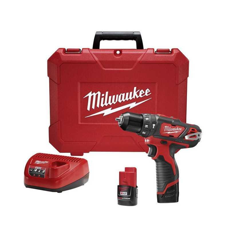 Taladro Percutor Inalámbrico 10mm 12V + 2 Bat + Cargador M12 Milwaukee 2408-259