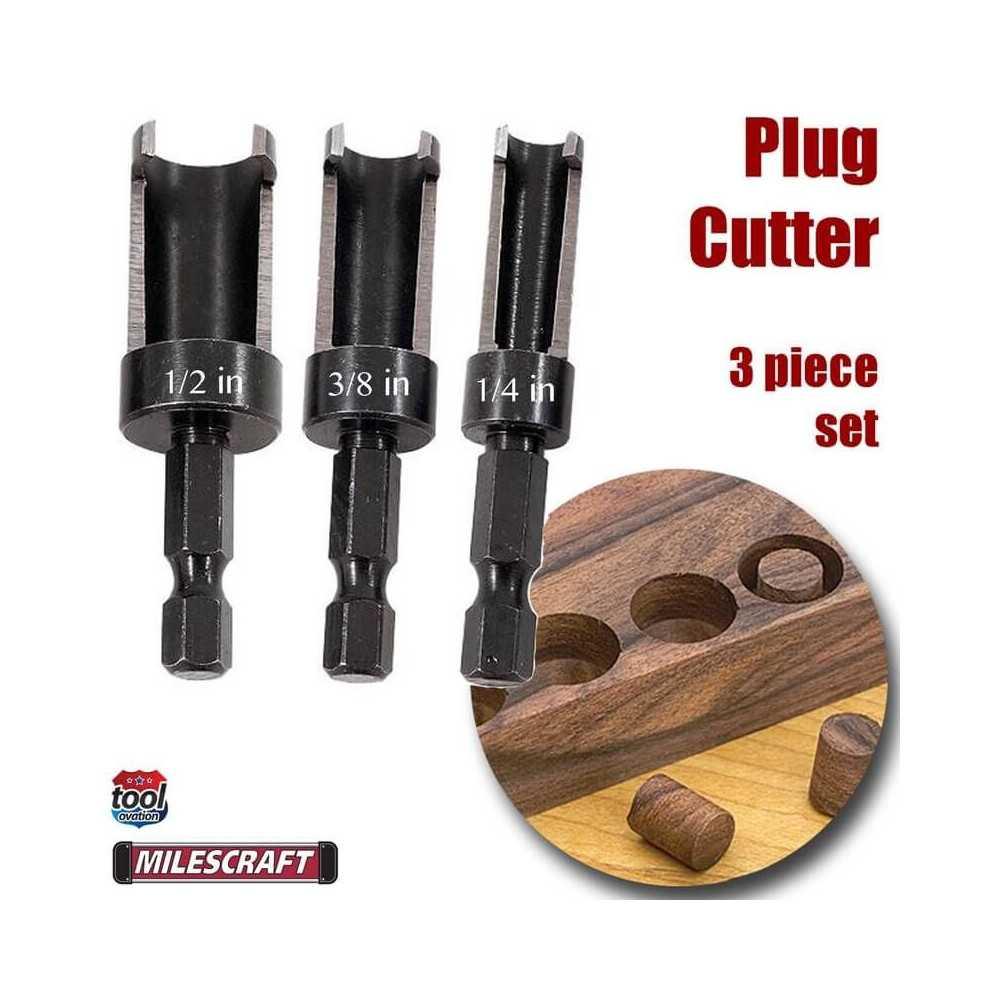 "Set Cortadores de Enchufe 3pc. PlugCutter Set (1/2"", 3/8"", 1/4"") Milescraft 5340"