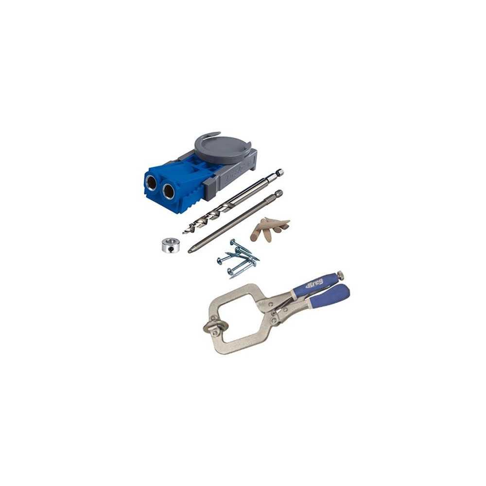 "Kit Carpintería Guía de perforación R3 y Prensa de 3"" KHC-PREMIUM. Kreg Kit 1"