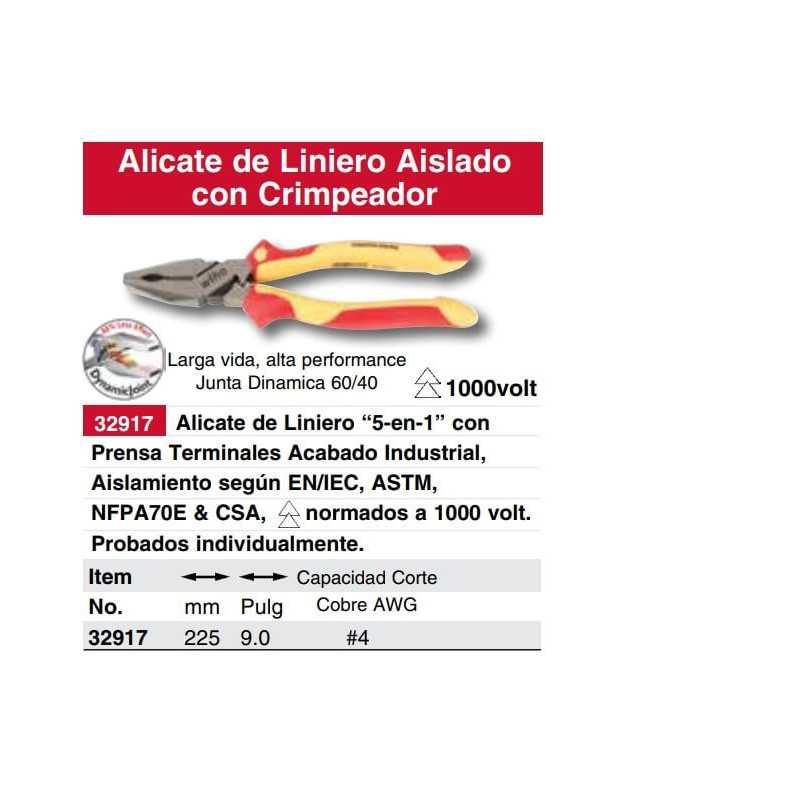 """Alicate Aislado Universal 9"""" 1000V VDE incluye crimpeador Wiha 32917"""