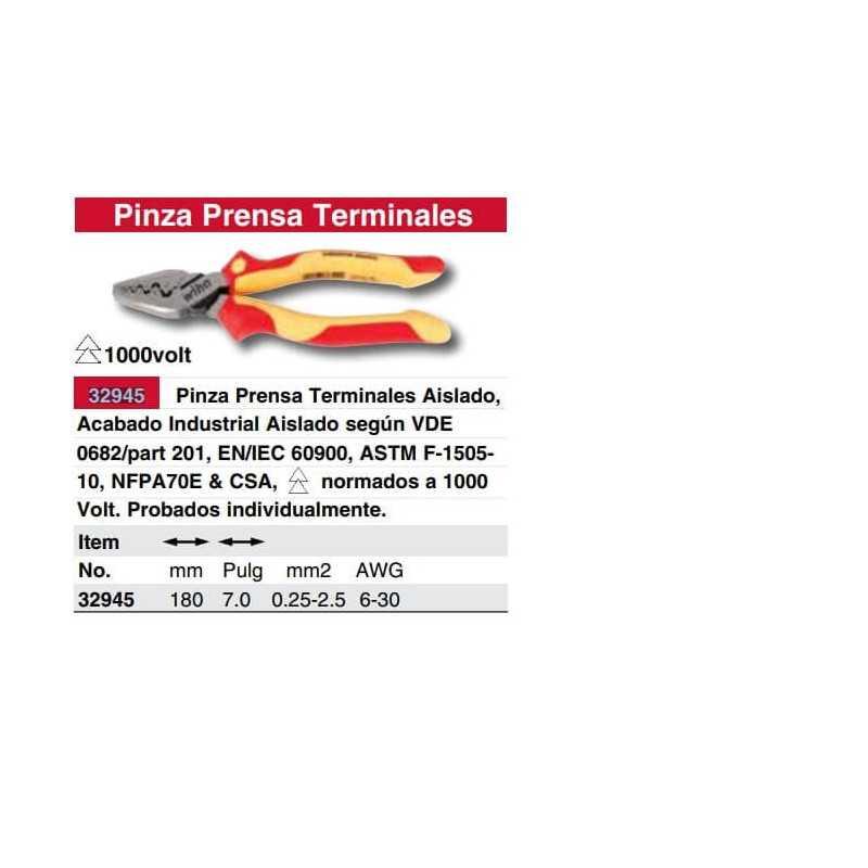 Alicate Aislado Apreta Conectores Semicirculares AWG 6-30 1000 VAC Wiha 32945