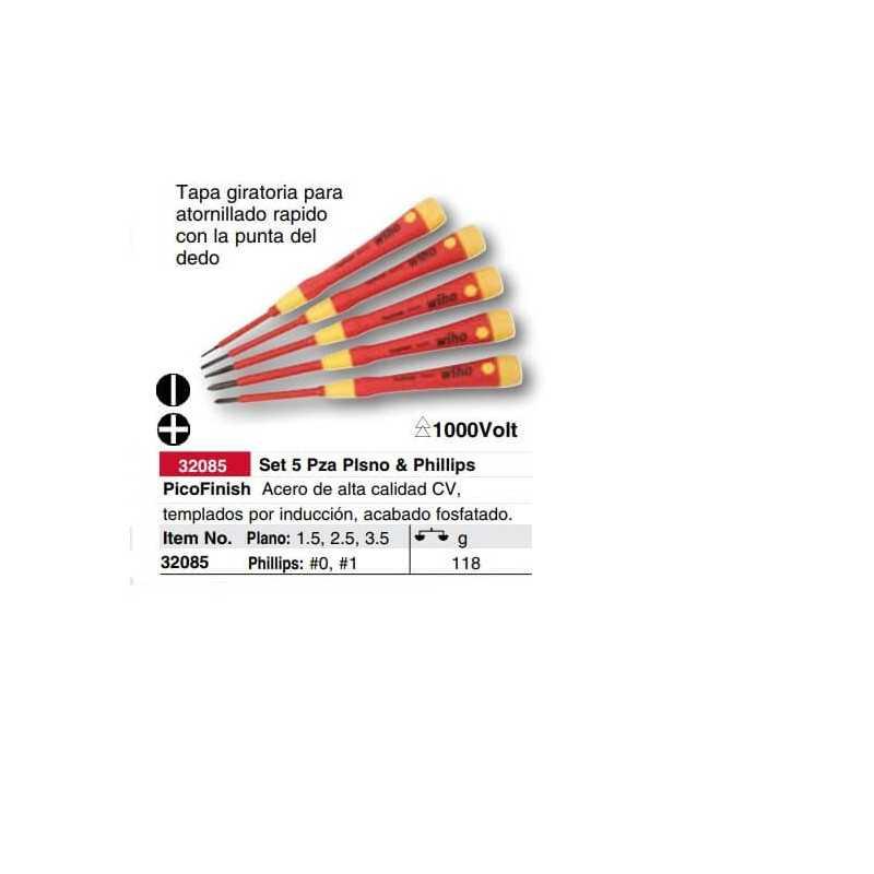 Set Atornilladores Aislados Perilleros 1000 VAC 5 pzs. Wiha 32085