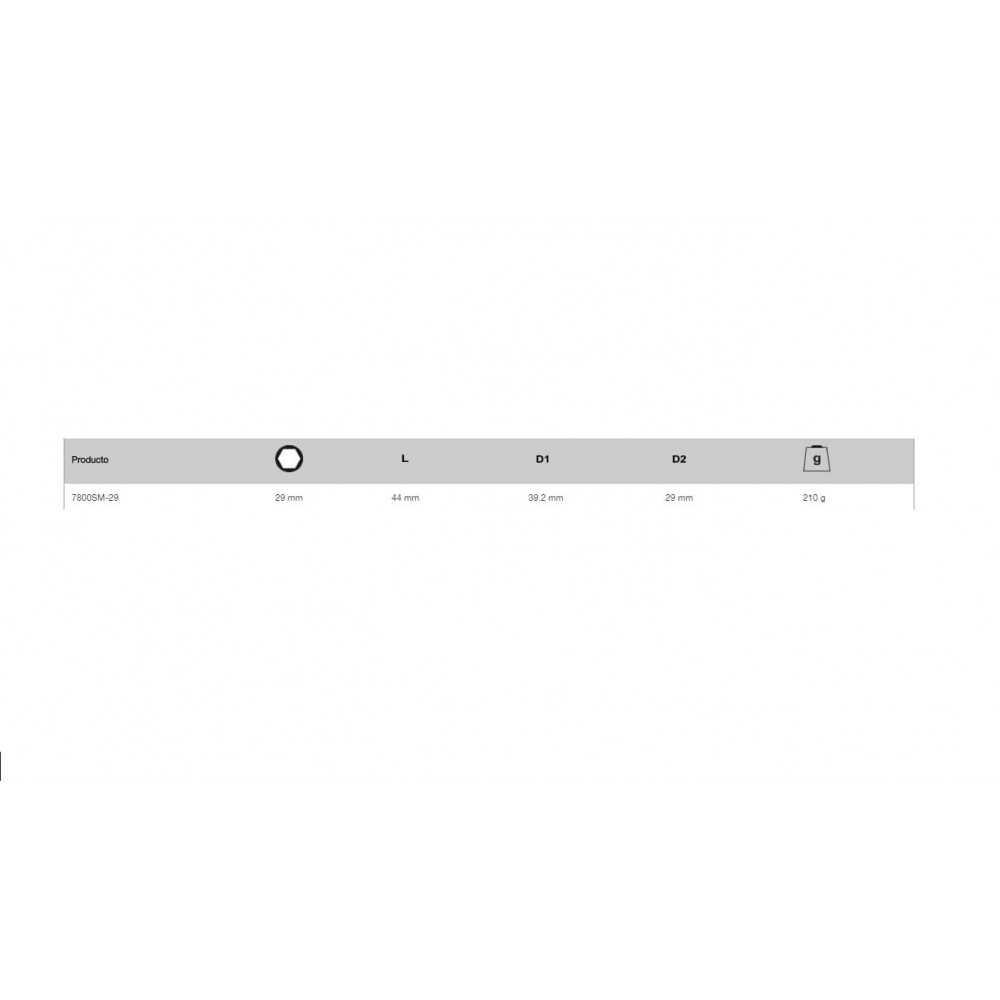 "Dado Hexagonal 1/2"" x 29 mm Bahco 7800SM-29"