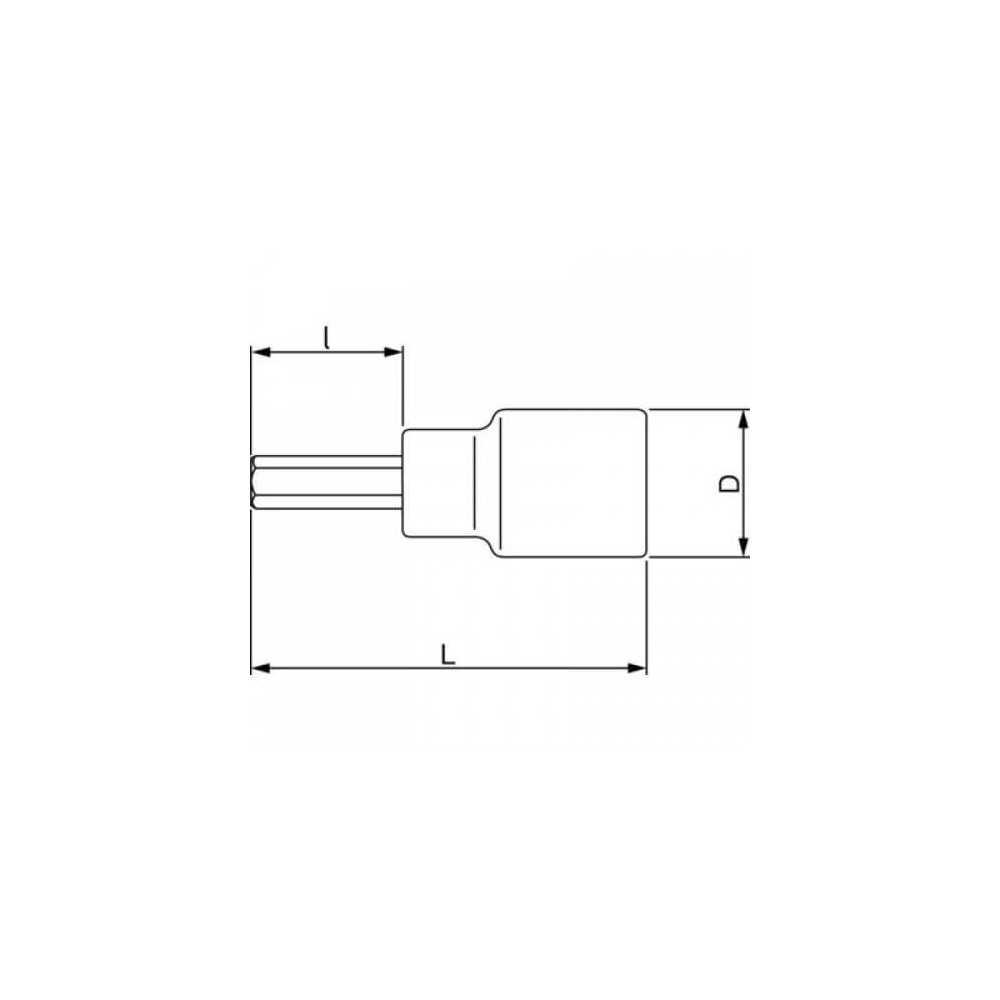 "Dado Destornillador Hexagonal 1/2"" x 5 mm x 180 mm Bahco 7809M-5-180"