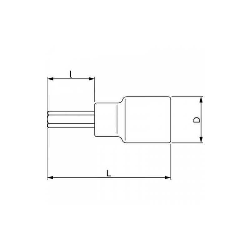 "Dado Destornillador Hexagonal 1/2"" x 6 mm x 140 mm Bahco 7809M-6-140"