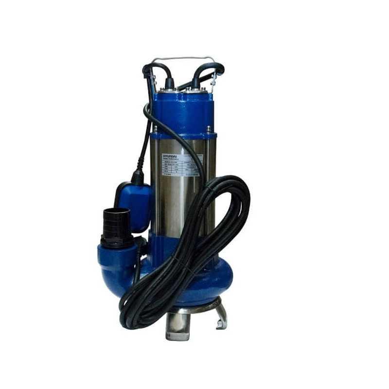 Bomba de Agua sumergible de acero inox. 1.5 HP / Para aguas limpias y sucias Hyundai 82HYWQD18M