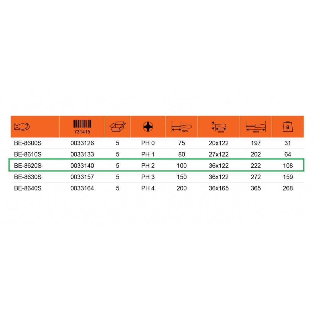 Destornillador Aislado Ergo Punta Phillips 2 Bahco BE-8620S