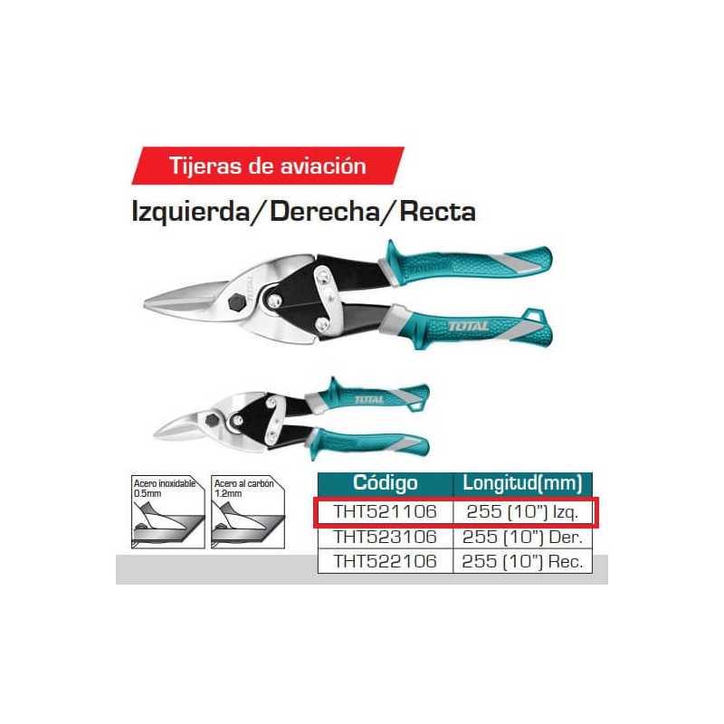 "Tijera Hojalatera 10"" Aviador IZQ Total Tools THT521106"