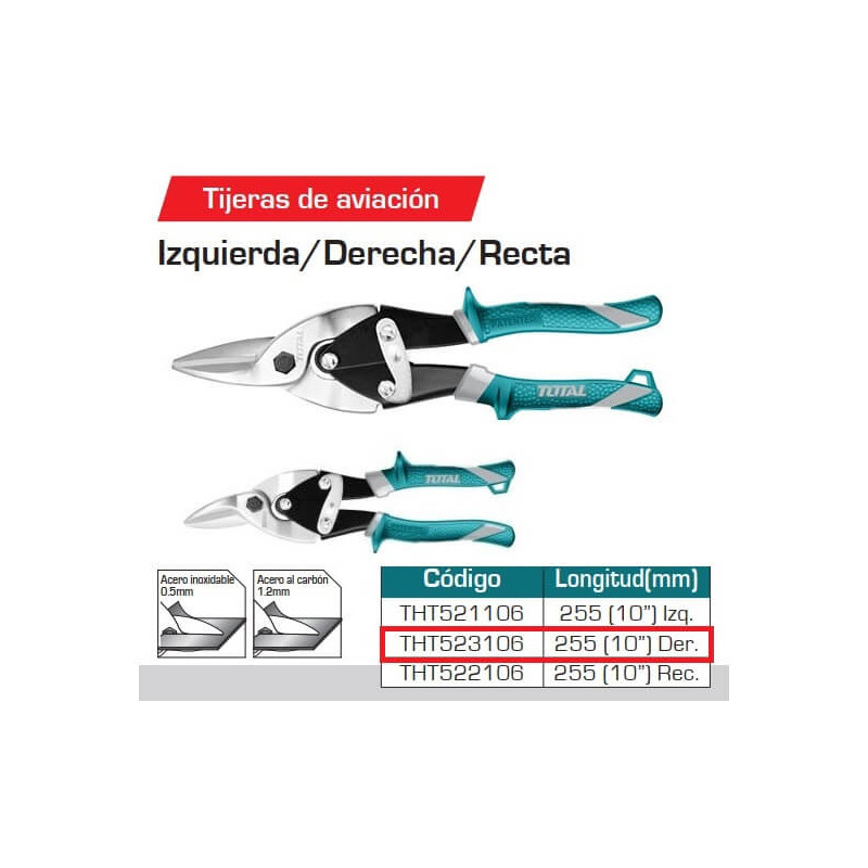 "Tijera Hojalatera 10"" Aviador DER Total Tools THT523106"