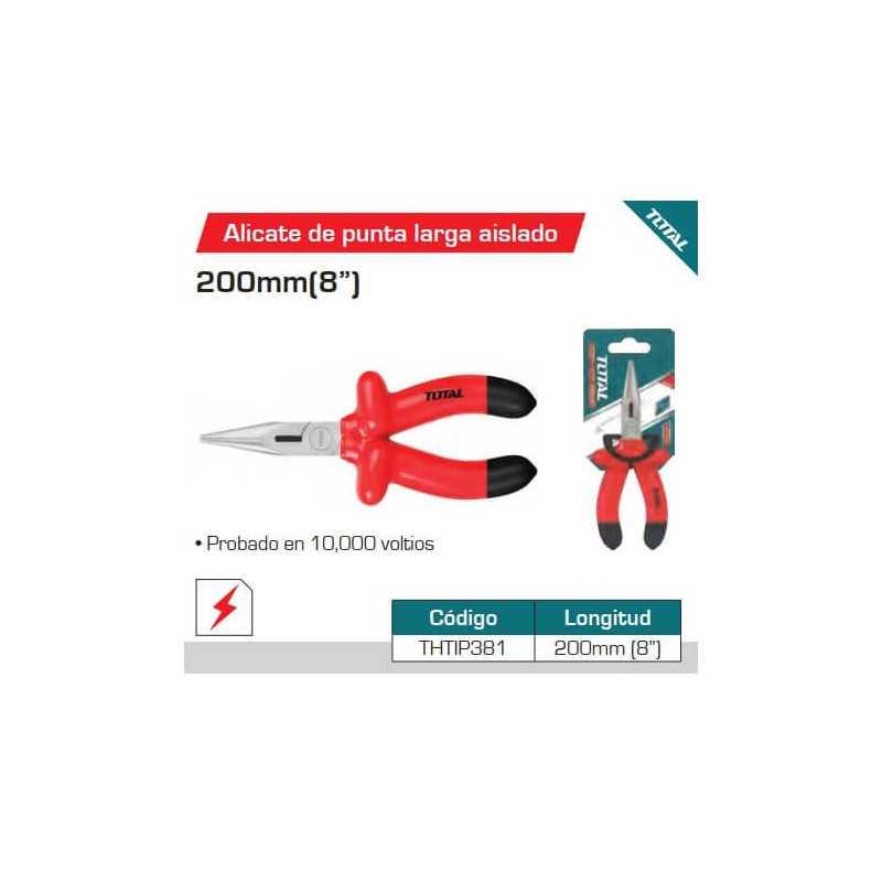 "Alicate Aislado Punta Larga 8"" ( 200mm) Total Tools THTIP381"