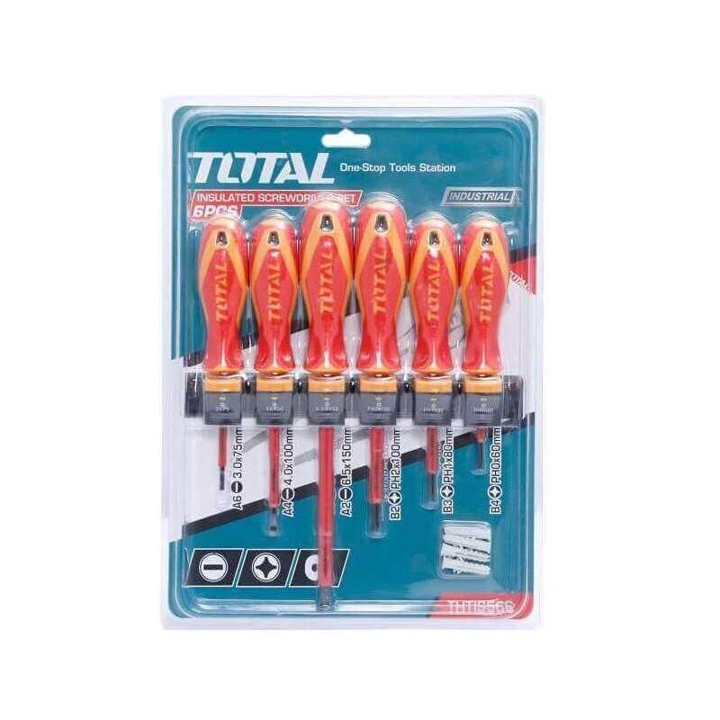 Set Atornilladores Aislados 6 PCS 1000V Total Tools THTIS566