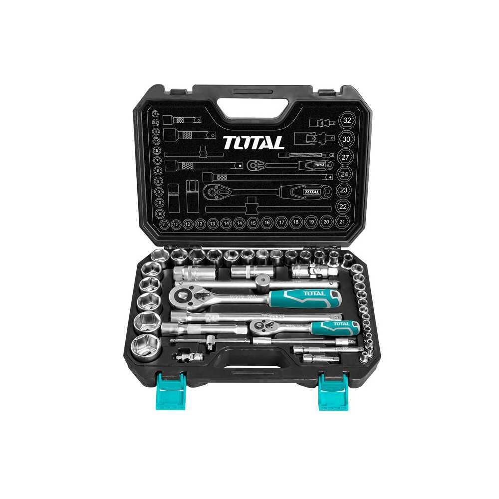 """Juego de Dados 44 PCS 1/4"""" + 1/2"""" Total Tools THT421441"""