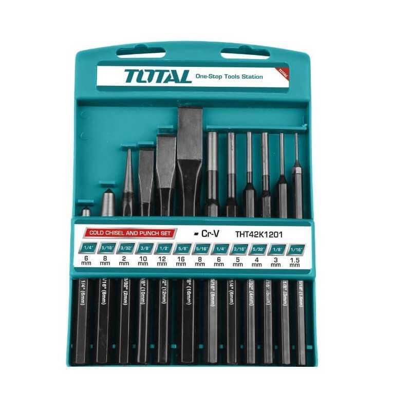 Juego de Botadores y Cinceles 12 Pcs Total Tools THT42K1201