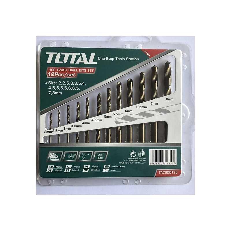 Set Brocas Metal HSS 12 Piezas Total Tools TACSD0125